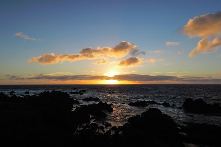 Sunset over the ocean in Hanga Roa the capital of Easter Island or Rapa Nui in Chile, South America