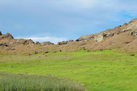 Diferentes impresiones de Rano Raraku en Isla de Pascua, Rapa Nui, Chile, América del Sur