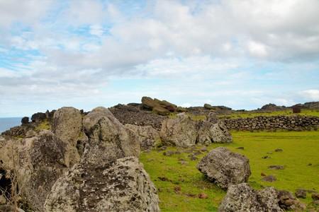 rapanui: Long shot of fallen Moai in Easter Island, Rapa Nui, Chile, South America