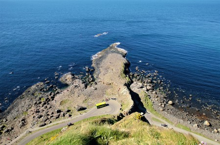 giants: Long shot of the Giants Causeway, an area of interlocking basalt columns in County Antrim in Northern Ireland, UK