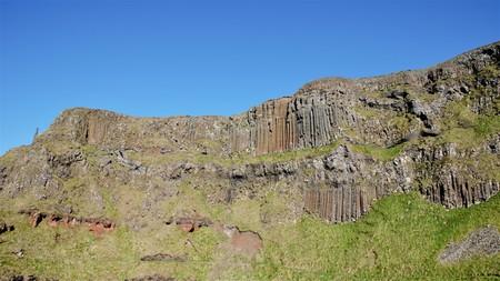 Long shot of the Giants Causeway, an area of interlocking basalt columns in County Antrim in Northern Ireland, UK
