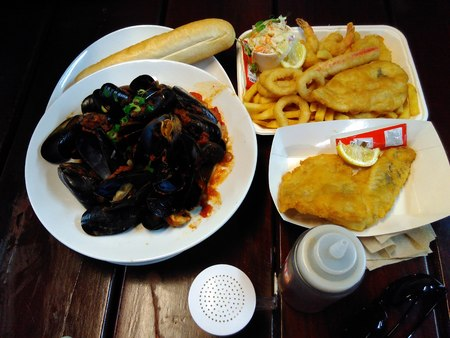 mussel: fish & chip,chili mussel Stock Photo