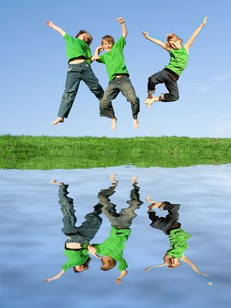 extrovert: (only 2 children used in image so only 2 releases) Stock Photo
