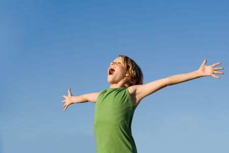 happy child singing or shouting for joy Stock Photo - 2592544