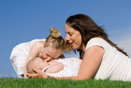 happy mother with little daughters Stock Photo - 2634669