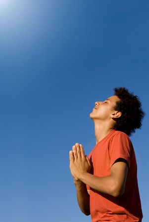 african american youth praying Stock Photo - 2634673