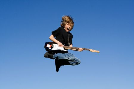 happy child with guitar photo