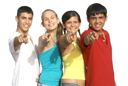 multi racial groups: happy group pointing Stock Photo
