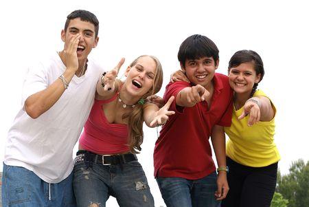 Happy friendly groupe d'adolescents  Banque d'images