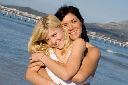 happy mother and daughter photo
