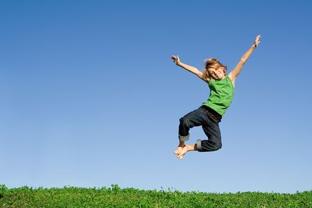 tween boy: happy kid jumping