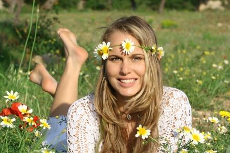 pretty girl relaxing in meadow