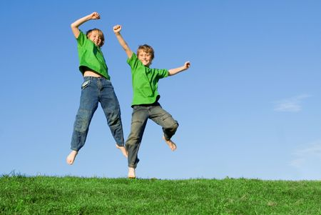 children jumping photo