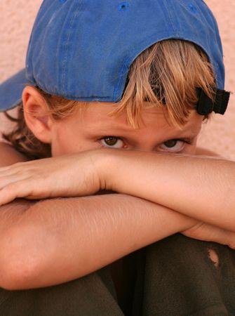 timid: shy child
