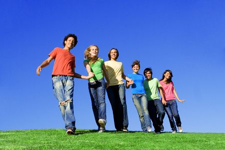diverse, group of happy smiling youth Stock Photo - 2669798