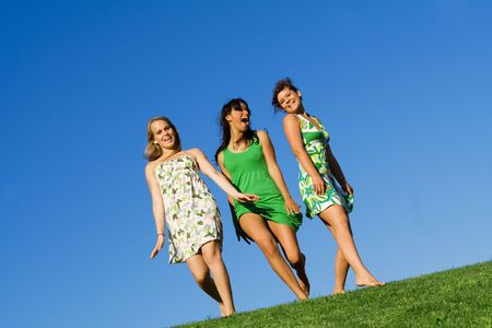 babes: group of happy teen girls Stock Photo