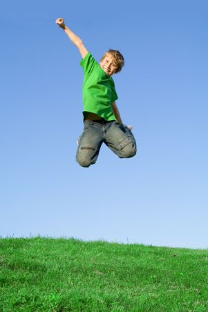 extrovert: happy child jumping