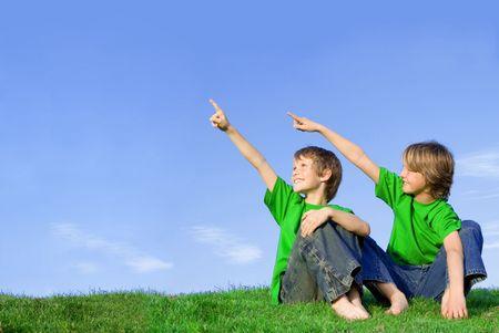 happy children pointing