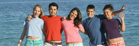 happy smiling group of teens on vacation Stock Photo - 2658817