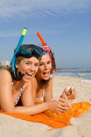 fun on beach vacation Stock Photo