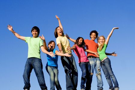 multi race: diverse, group of happy smiling youth
