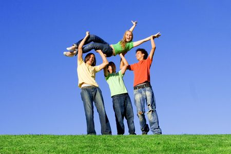 goofing: diverse group of youth
