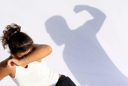 wife or teenage abuse Stock Photo