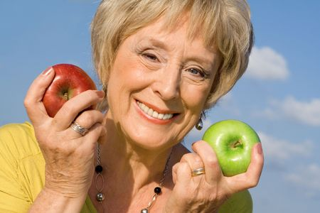 senior woman healthy eating Stock Photo