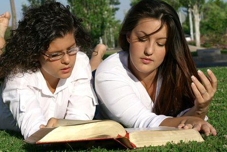 christian girls reading bible