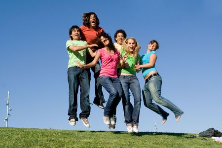 multiracial groups: diverse group of happy teenagers Stock Photo