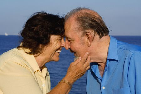 happy seniors in love on vacation Stock Photo - 2733166