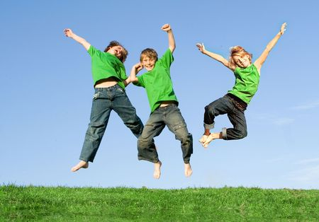 tweens: Jumping children Stock Photo