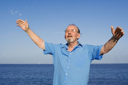 happy senior man arms raised with joy and happiness Stock Photo - 3052407