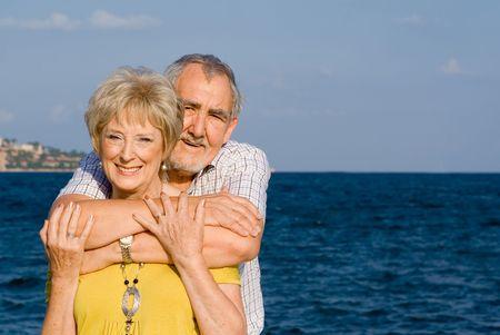 smiling seniors on vacation photo