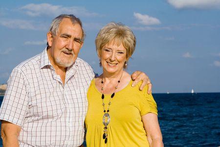 happy elderly retired couple photo