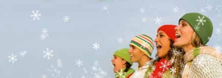 sciarpe: canto natalizio cantanti Archivio Fotografico