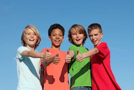 mixed colors: group of diverse kids
