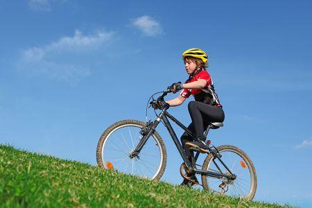 ni�os en bicicleta: ciclismo Foto de archivo