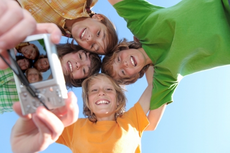 group of happy smiling kids at summer camp Stock Photo - 4556144