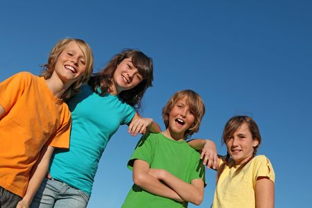 tweens: group of kids hanging out. Stock Photo