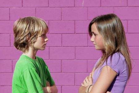 tweens: boy and girl arguing