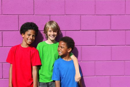 group of mixed race boys