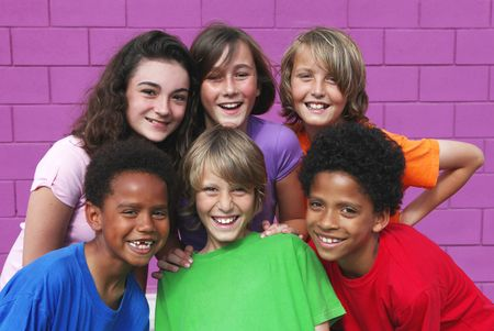 diverse group of kids  Stock Photo