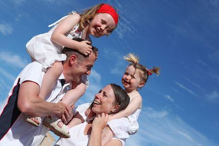 happy family piggyback fun