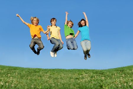 group of teens jumping photo