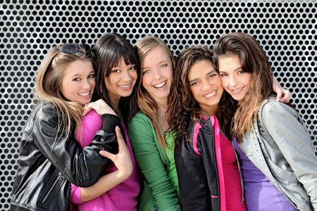 group of happy smiling, girls Stock Photo - 7159808