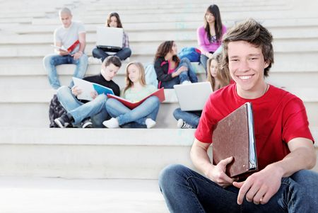 happy students in campus Stock Photo - 7159804