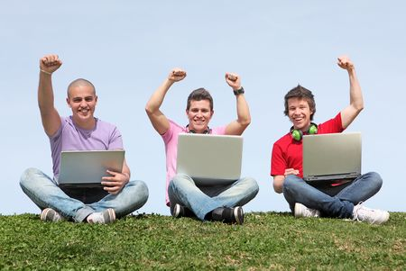 group of students with laptops