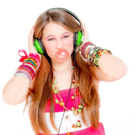 extrovert: happy teen blowing gum
