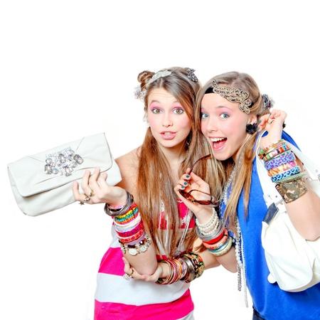 happy teens wearing accesories